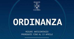 Regione Calabria, misure contro il Covid-19 prorogate fino al 13 Aprile