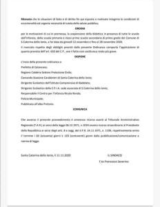 Emergenza Coronavirus, chiuse tutte le scuole di Santa Caterina dello Ionio