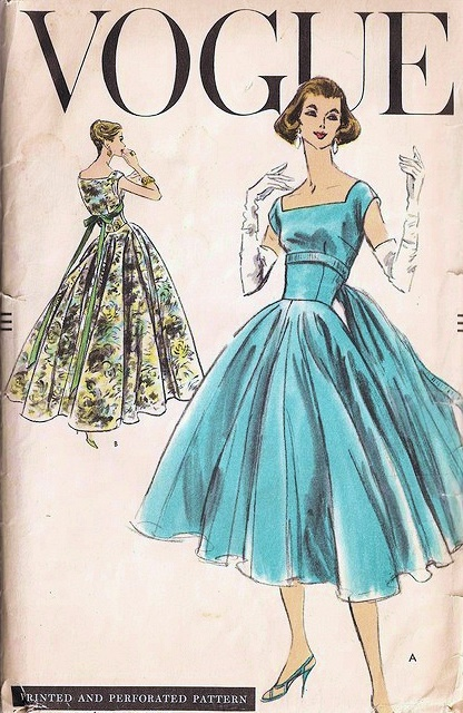 1950s Beautiful Cocktail Dress Evening Gown Pattern Vogue