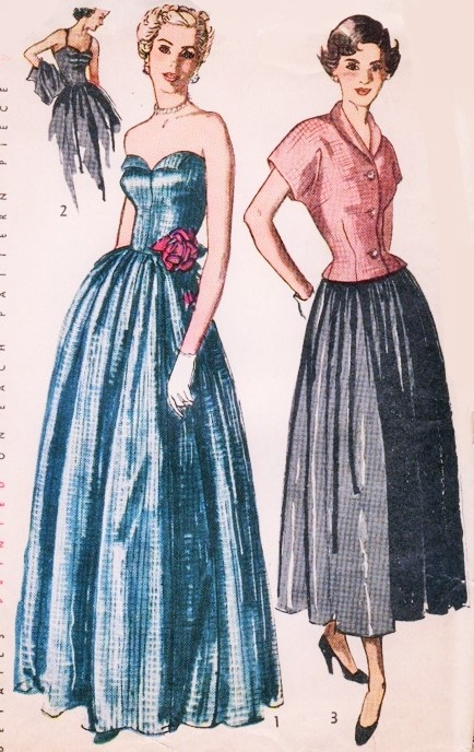 1940s STRAPLESS Petal Bodice Evening Gown Pattern