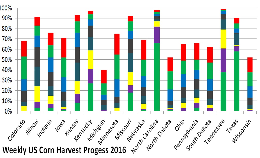 Weekly US Corn Harvest progress 1 November 2016.