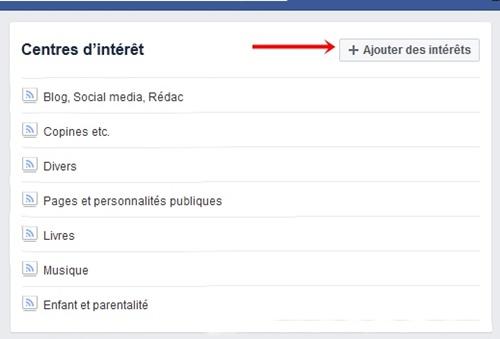 Facebook ajout centre interet