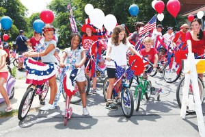 KATHARINE SCHROEDER PHOTO The start of Southold Village Merchants' 14th annual July Fourth parade.