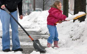 shoveling kid