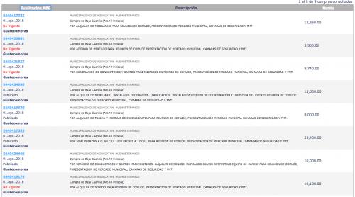 Compras realizadas en un día a la empresa Oficina de Todo en Servicios. (Foto: captura de pantalla)