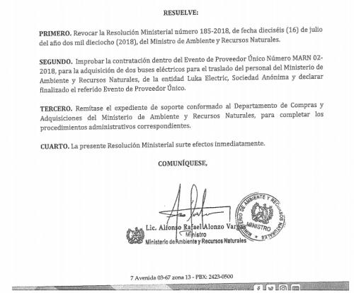 El documento donde el ministro Alonzo revoca la compra de Q2.2 millones. (Foto: Soy502)