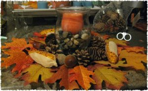 Simple Fall Centerpiece Craft-Autumn Candle Decorating Idea