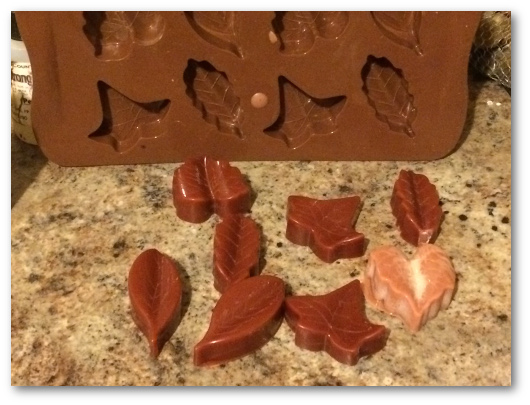 Cooled soy wax melts fall leaves