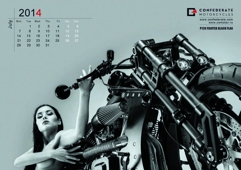 "Lámina de julio del calendario de Confederate Motorcycles 2014 ""The Art of Rebellion"""