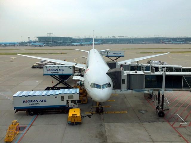 인천공항, 출발 전 비행기 모습