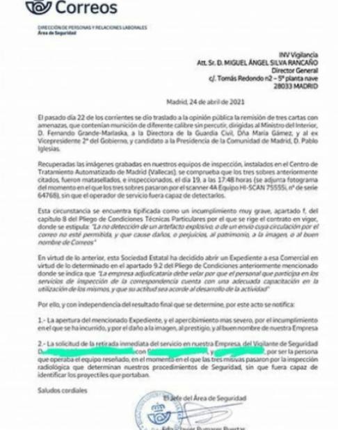 Nota de prensa de Correos sobre las balas y el Vigilante