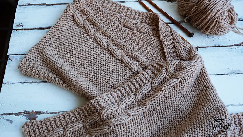 Patron capucha con bufanda facil dos agujas tricot calceta palillos,Soy  Woolly