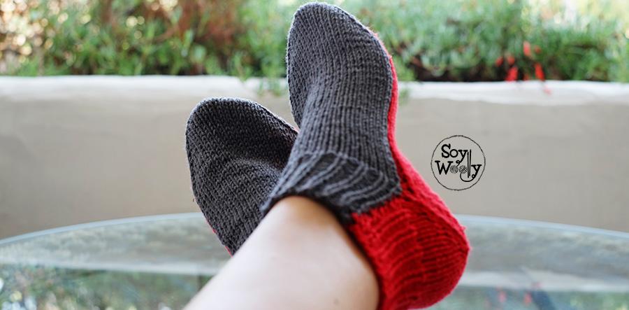 como tejer calcetines medias en dos agujas rectas no circulares