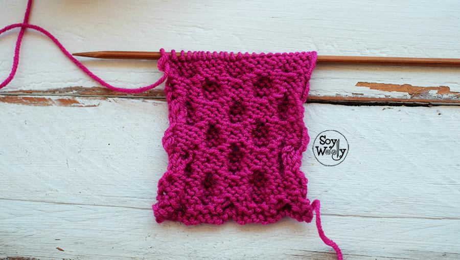 Como tejer el Punto Nido de Abeja en dos agujas palitos tricot