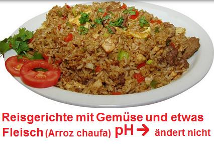 Reisgericht mit Gemüse und etwas Fleisch (Arroz chaufa): Der pH-Wert bleibt gleich