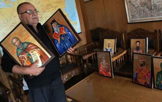 Икони на български светци при мощите на Кръстителя