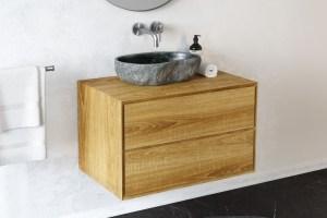 Waschtischunterschrank Apelia Eiche massiv 2 Schubladen ...