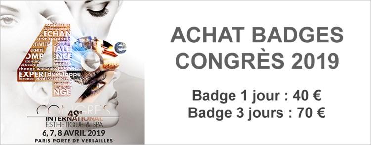 Badges Congrès de l'Esthétique et du Spa 2019