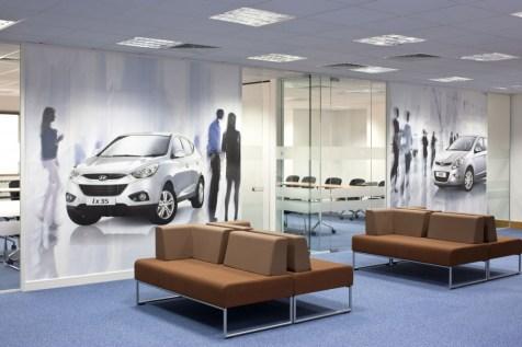 Image of Hyundai Training Centre glass office walls and bespoke digital wallpaper branding