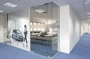 Image of Hyundai Training Centre glass office walls, storage wall and bespoke digital wallpaper branding