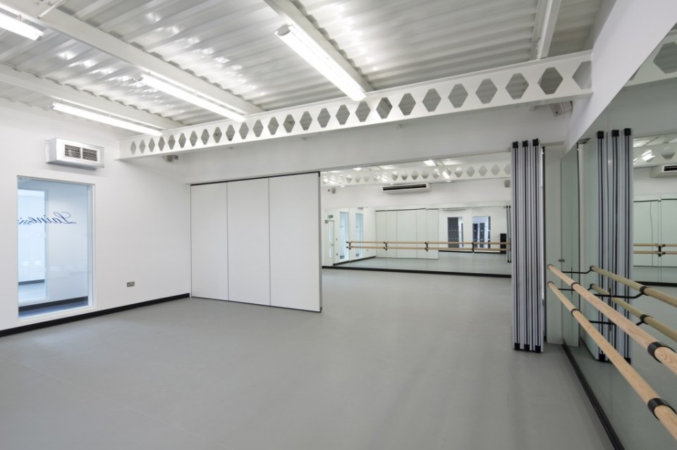 Image of Laine Theatre Arts dance studio retractable full-height doors - half open