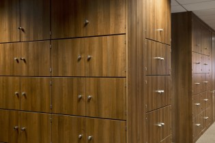Image of Ogilvy 4D storage wall oak lockers and room partitioning system