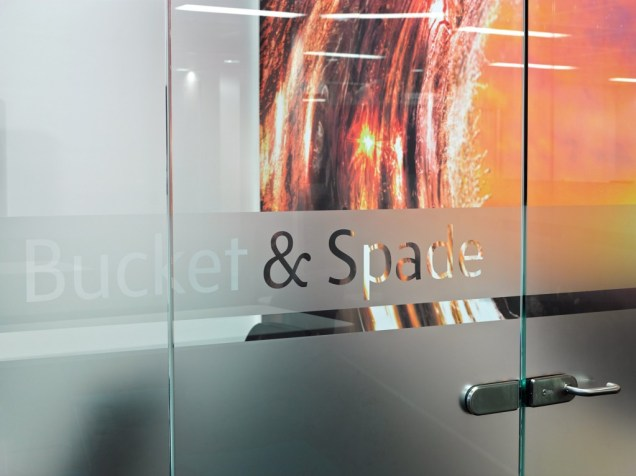 Image of Thomas Cook HQ office glass door signage detail