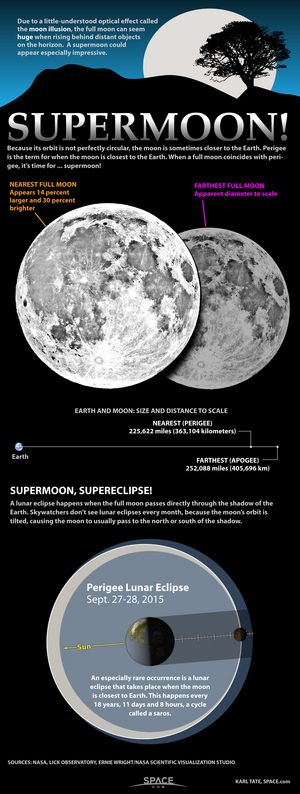 """Supermoons can appear 30 percent brighter and up to 14 percent larger than typical full moons. <a href=""""http://www.space.com/11161-supermoon-full-moon-science-infographic.html"""">Learn what makes a big full moon a true 'supermoon' in this Space.com infographic</a>."""
