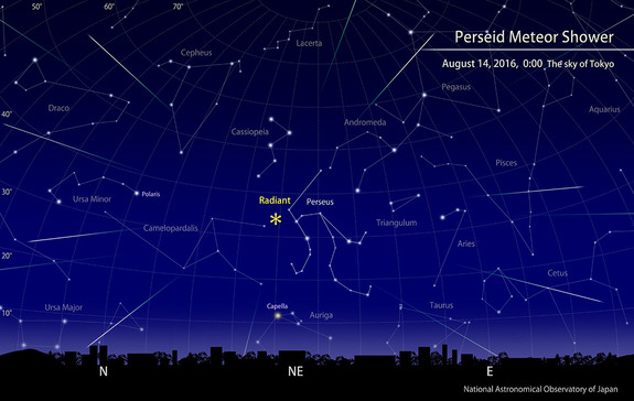 The 2016 Perseid meteor shower will appear to radiate out from the constellation Perseus as shown in this sky map from the National Astronomical Observatory of Japan. The Perseids will peak on Aug. 12, 2016.
