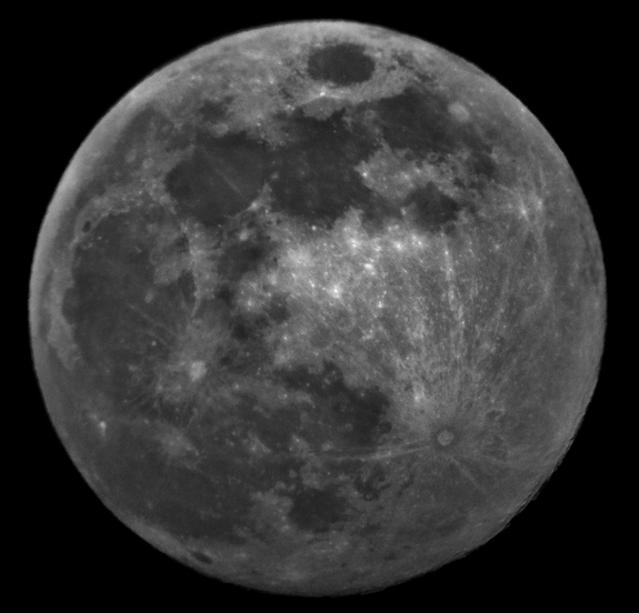 The Harvest Moon of Sept. 11, 2011, photographed by Zachary Maughmer of the Watchers Astronomy Blog in Bainbridge, OH. Many features of the moon's surface are visible to skywatchers, even without a telescope.