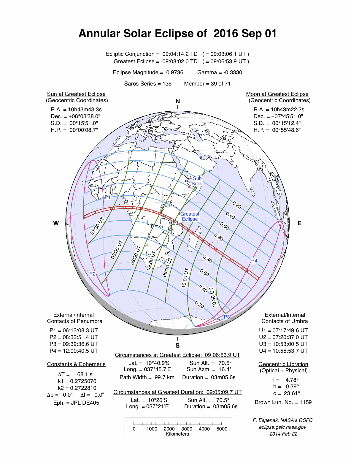 Map showing the path of the Sept. 1, 2016 annular solar eclipse across parts of Africa.