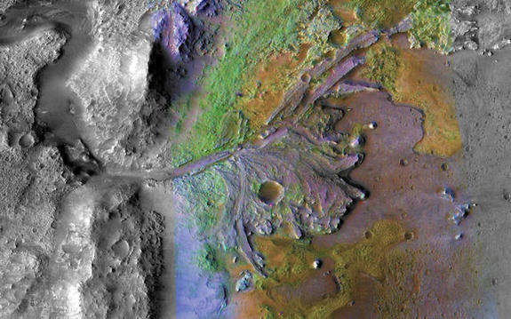 Jezero crater is one of NASA's top three choices for landing its upcoming Mars 2020 rover. This image shows an ancient delta likely carved by a past lake basin.