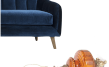 Space And Habit Weekend Weakness Blue Velvet Sofa Amber Glass Lamp