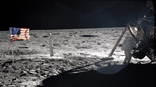 A photograph of Armstrong near the Apollo 11 LM