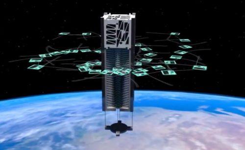 An artist's rendering of KickSat deploying its femtosatellites. Image Credit: KickSat