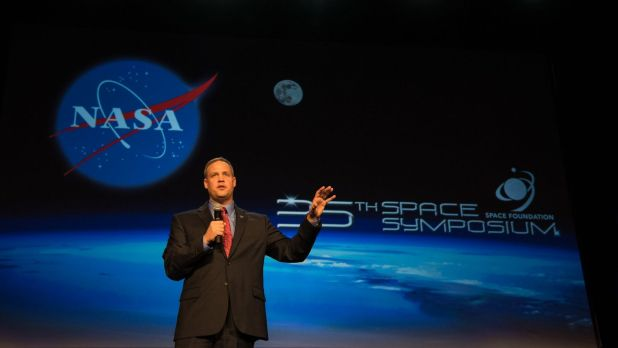 At the 35th Space Symposium in Colorado Springs, Colorado, NASA Administrator Jim Bridenstine discusses the agency's plan to return humans to the Moon by 2024.