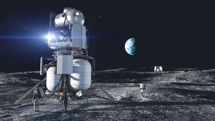 चंद्रमा के दक्षिणी ध्रुव पर एक चंद्र लैंडर का एक कलाकार का प्रतिपादन।  नासा वर्तमान में चंद्रमा की सतह पर नेविगेट करने के लिए कई समाधान तलाश रहा है।  साभार: नासा / ब्लू ओरिजिन