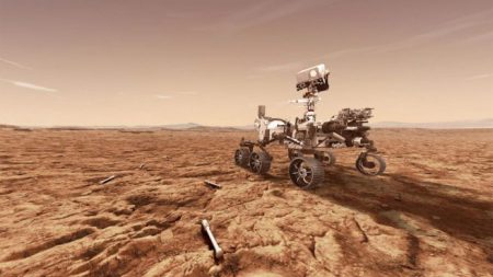 An illustration of the Perseverance rover leaving behind cached Mars samples. Credit: NASA