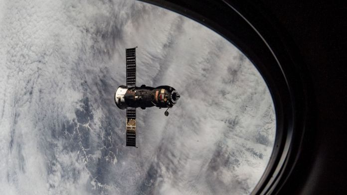 A view of Progress MS-15 departing the ISS to make way for the arrival of Progress MS-16 a week later. Credit: NASA