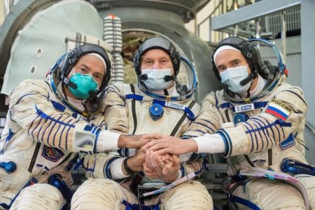 NASA astronaut Mark Vande Hei, left, and Russian cosmonauts Oleg Novitsky, center, and Pyotr Dubrov seen in a picture taken during qualification exams in September 2020. At the time, the trio were assigned as backup crew members for Soyuz MS-17. Credit: NASA/Roscosmos