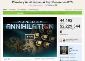 Planetary Annihilation Kickstarter