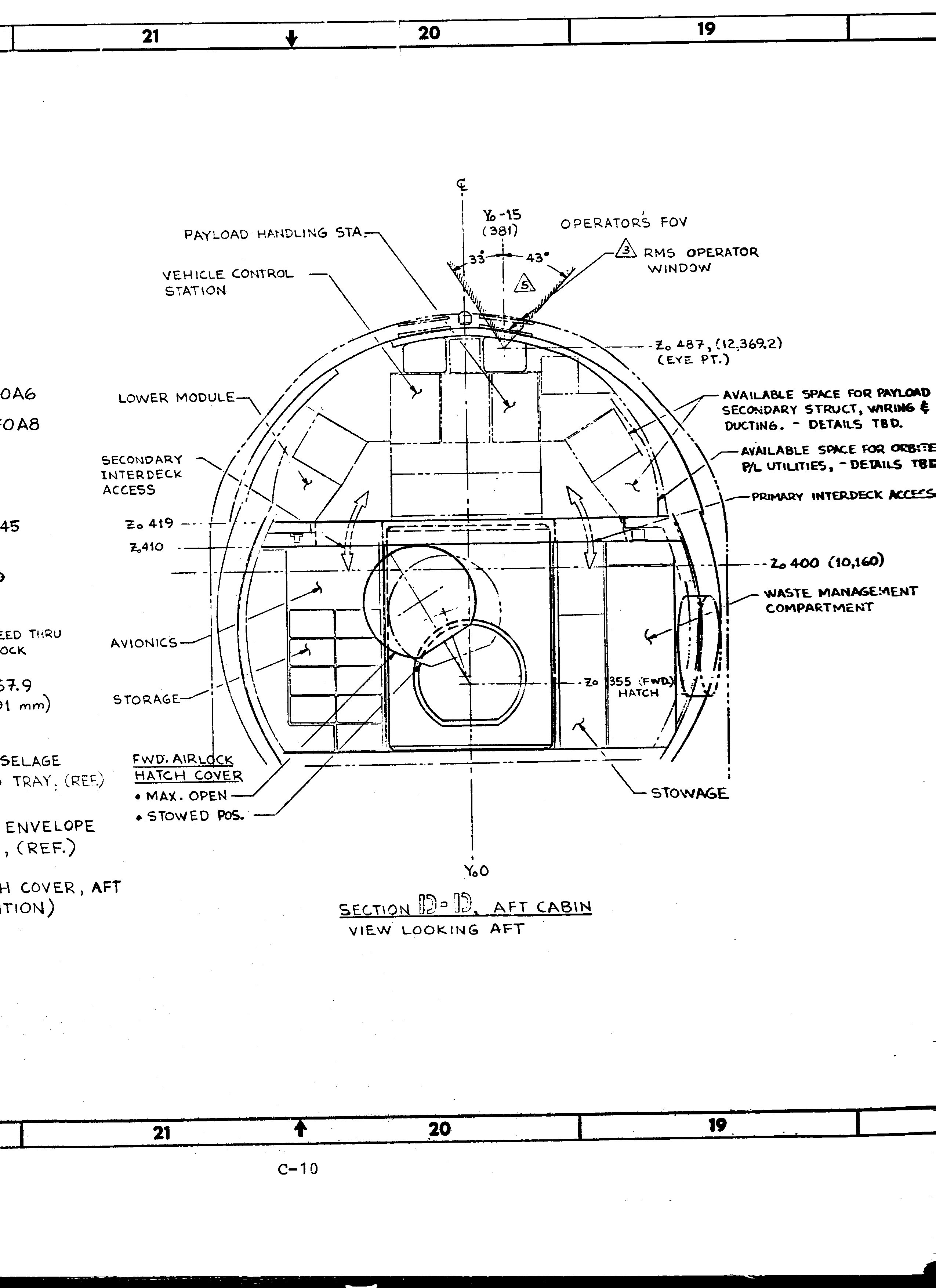 Space Shuttle Cockpit Dimension Drawing