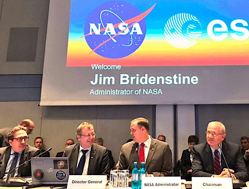 NASA's Bridenstine tells Europe that U.S. is not quitting the space station in 2025