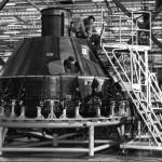 The Cabin Section of the Command Module being Assembled at North American Aviation