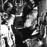 McDivitt & Schweickart practice in the LM simulator