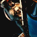 Schweickart on the porch of the Lunar Module