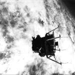 McDivitt & Schweickart show Spider's landing gear to Scott before they pull away