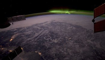 """Astronaut Don Pettit posted this photograph on his blog on February 24th, noting """"That's Canada's Manicouagan Crater near the center."""" (Credits: Don Pettit)."""