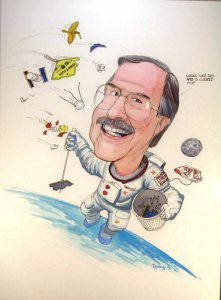 Don Kessler cleaning up the space debris in a caricature by Pat Rawlings.