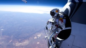 Baumgartner prepares to jump from his capsule on his last test flight (Credits: Red Bull Stratos).